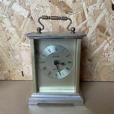 Vintage Metamec Brass Carriage Clock Gold Face- Spares Repair Wedding Prop 12cm
