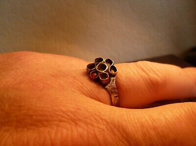 Gorgeous Late Medieval Or Tudor Flower Ring With Red Stone-Metal Detecting Find