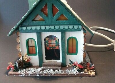 VINTAGE Wooden Swiss Chalet Style House Illuminated Christmas Decoration