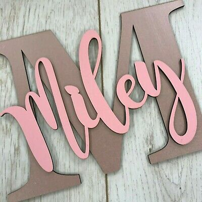 Personalised painted wooden letter with script name - ANY NAME/COLOUR WALL SIGN