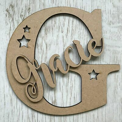 *ANY NAME & LETTER* Personalised wooden letter with script name & stars