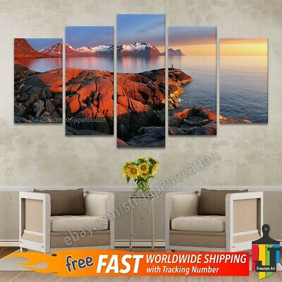 5 Pieces Home Decor Canvas Print Mountain Rocky Coast Beach Sea Ocean Landscape