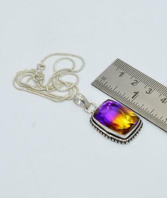 925 SILVER PLATED FACETED AMETRINE QUARTZ CHAIN PENDANT- 19.5 INCH wR524