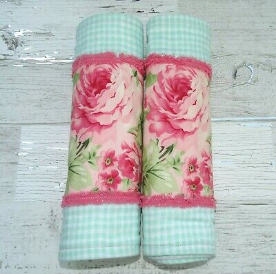Baby Girl Burp Cloths ~Set Of Two~ Shabby Chic Cottage Roses