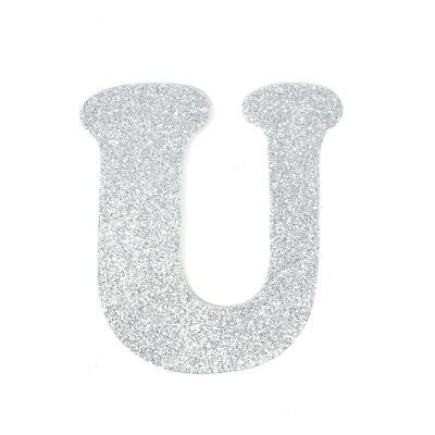 "EVA Glitter Foam Letter Cut Out ""U"", Silver, 4-1/2-Inch, 12-Count"