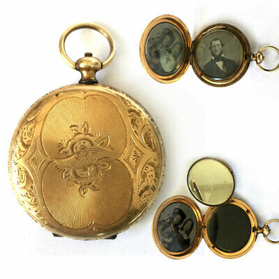 Beautiful c1855 DAGUERREOTYPE Gold Filled Locket FLAGG & PRICE Family WISCONSIN