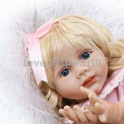 "24"" Reborn Toddler Doll Girl Lifelike Long Blond Hair Baby Gifts Soft Silicone"