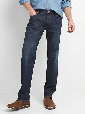 NWT Men's GAP Straight Denim Jeans with GapFlex Whiskering 34x36 NEW in store