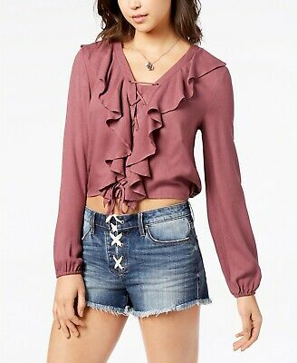 American Rag ' Lace-Up Ruffle Top bright mauve size small