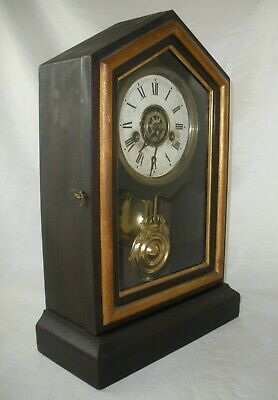 Antique E. Ingraham Cottage Mantel / Shelf Clock w/ Alarm