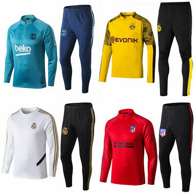 New Adult Men Soccer Football Tracksuit Club Tops Pants Jersey Training Suit