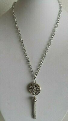 """Beautiful Women Necklace with tassels,36"""" Long,Round Pendant with crystal stone"""