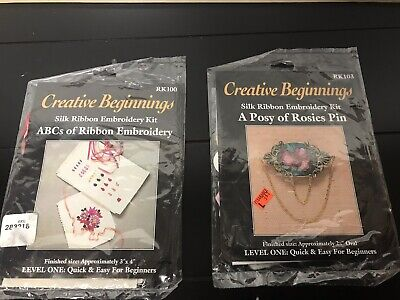 2 X Silk Ribbon Embroidery Kits - # RK100 & RK103 - Creative Beginnings