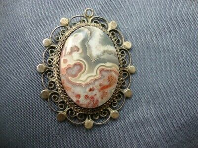 Antique 900 Sterling Silver Crazy Lace Pendant Old Victorian Edwardian Georgian