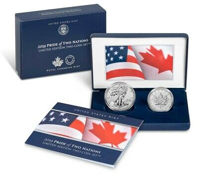 2019 Pride of Two Nations 2pc. Set U.S. Set NGC PF70 ER Flags Label