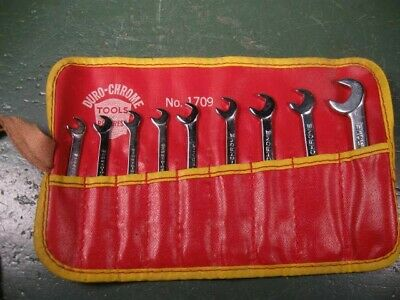 Old Used Vintage Mechanics Tools Rare Duro-Chrome Small Wrenches Set