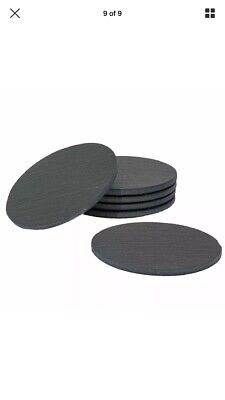 Sona Home Premium Functional Slate Coasters (Set Of 6) | Round Black Coasters