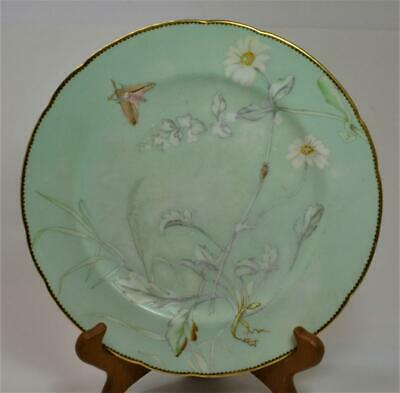 Antq 1892 MINTON Impressed Mark Green Aesthetic Movement Insects #5305 Plate