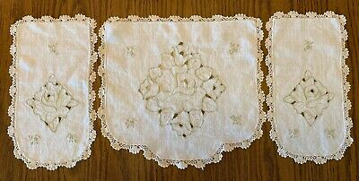 Set Of 3 Vintage Cutwork Embroidered Doilies Crocheted Edging Flowers