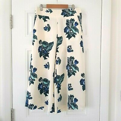 H&M Floral White Pattern Culottes Crop Trousers UK 10 Summer Holiday Blogger