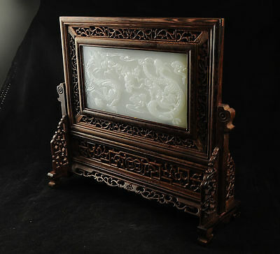 100% Natural Afghanistan Jade  Chinese Wood Screen Carved Two Dragons AFH001