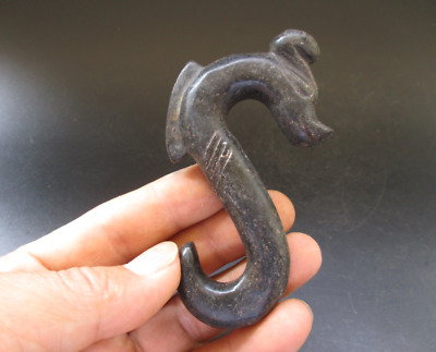 China,hongshan culture, jade,stone,black magnet,Dragon hook,pendant B729