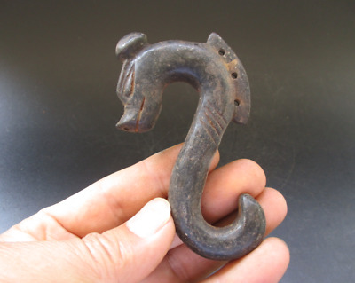 China,hongshan culture, jade,stone,black magnet,Dragon hook,pendant B730