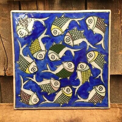 Lovely Hand Painted Trivet Ceramic Tile With Fantastic Fish Design Kitchen Decor