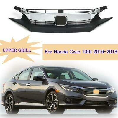 For Honda Civic 10th Sedan 2016-2018 Front Bumper Chrome Upper Grille Grill New