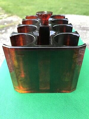 Bakelite Catalin Poker Chip Caddy Holder Tortoise Shell Vintage and Translucent