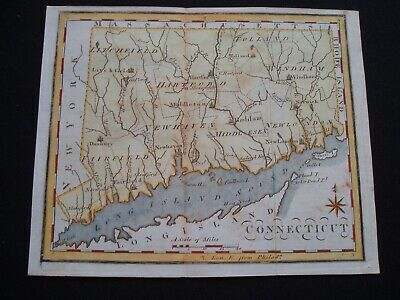 1795 Scott Map Colonial State of Connecticut - One of earliest state maps made