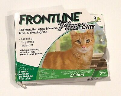 Frontline Plus for Cats 3 Doses Sealed Flea & Tick Control GENUINE  NEW in Box!!