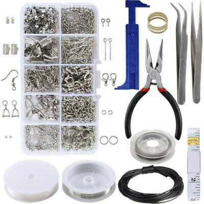 1Set Large Jewellery Making Kit Pliers Silver Beads Wire Starter Tool DIY New