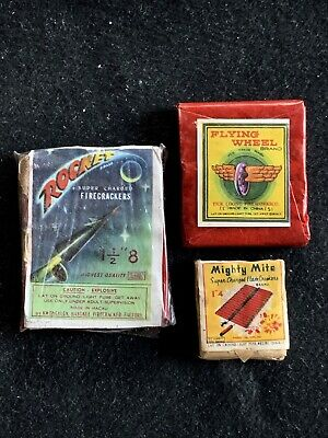 Firecracker Labels 3 Rocket 8's Mighty Mite 4's Flying Wheel 7's Complete