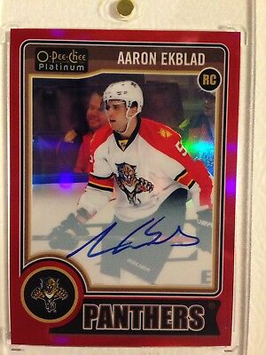 2014-2015 14-15 OPC Platinum Red Auto Aaron Ekblad RC RARE SP #18/50
