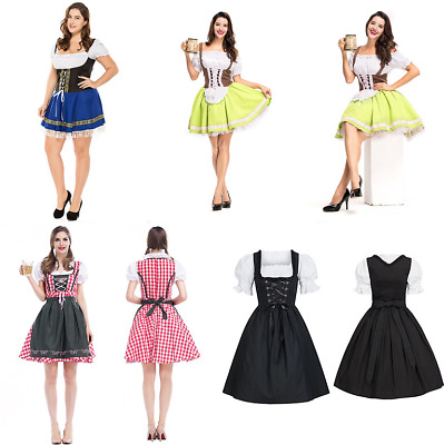Women Traditional Dirndl Bow Dress Lady Oktoberfest Beer Cosplay Costumes Outfit