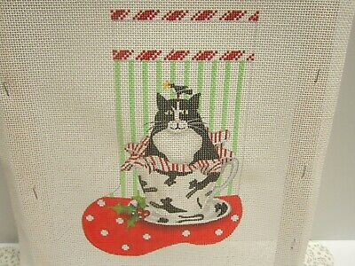 Cat In Teacup Mary Lake Thompson Handpainted Needlepoint Stocking Canvas New '06