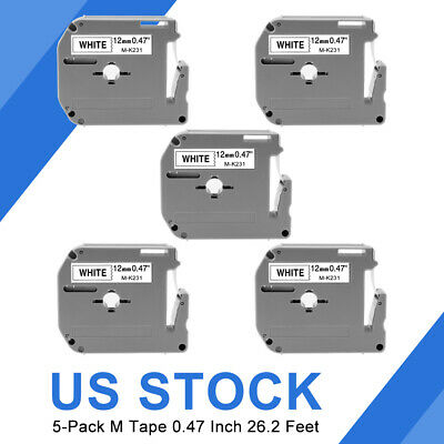 M-K231 MK-231 Label Tape 4 PK Compatible with Brother P-touch Label Maker 12mm