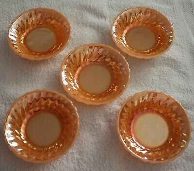 5 Vintage Small Anchor & Hocking Peach Lustre Ware Dessert Bowls - Made In Usa