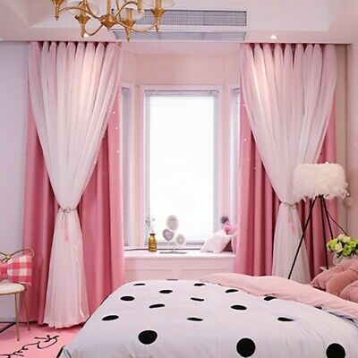 DOUBLE-LAYER BLACKOUT CURTAINS Floor Curtain Starry Curtains ...