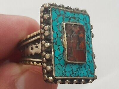 Fantastic Extremely Rare Ancient Medieval Silver Ring Rare Stones.15,1 Gr.19 Mm