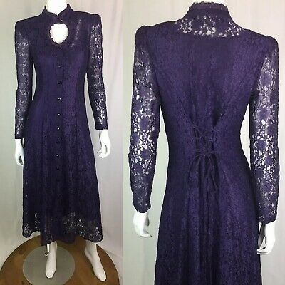 Vintage Ariana Purple Button Up Victorian Lace Up Midi Steampunk Flare Dress S