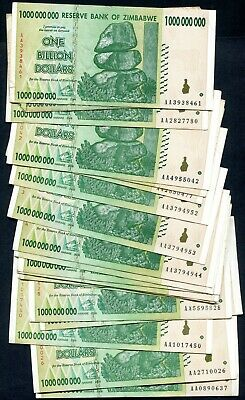 20 x used ZIMBABWE 1,000,000,000 Dollar Banknotes  1 BILLION 2008 P83