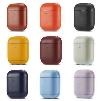 Genuine Leather Earphone Skin Cover For Apple AirPods 2nd Wireless Charging Case