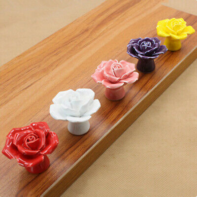 Colorful Rose Ceramic Knobs For Door Cabinet Cupboard Pull Drawer Handles+Screw