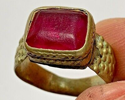 LATE MEDIEVAL SILVERED RING WITH RARE BRILLIANT STONE 5.5gr 25mm (inner 19.0mm)