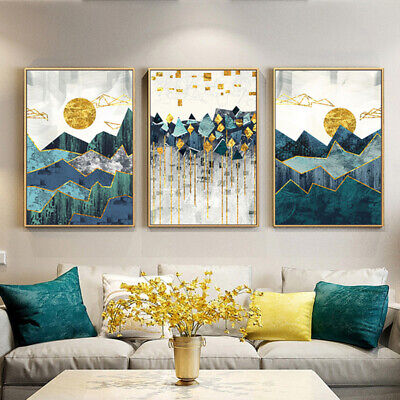 Bright colors Mountain Canvas Poster Abstract Nordic Wall Art Modern Home Decor