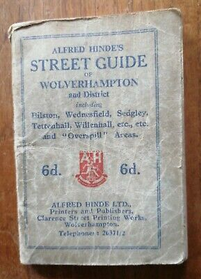 VINTAGE 1950s ALFRED HINDE'S MINI STREET GUIDE OF WOLVERHAMPTON AND DISTRICT