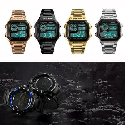 Vintage Men's Luxury Waterproof Alarm Stainless Steel Digital Square Wrist Watch