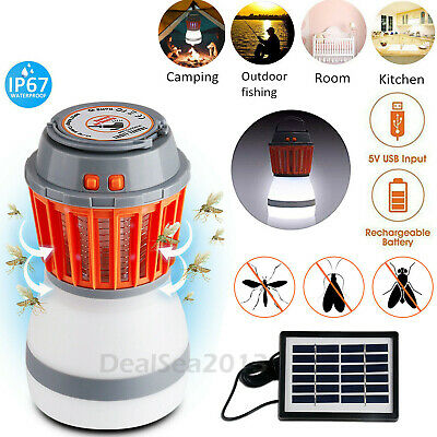 Solar Mosquito Zapper LED Lamp Camping Tent Outdoor Insect Bug Killer Light UK